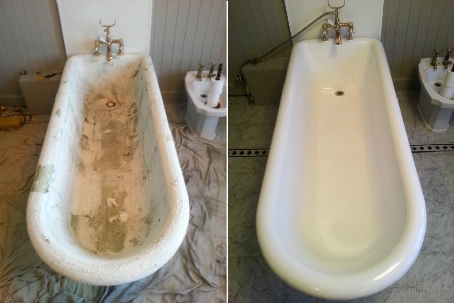 До и после реставрации ванны